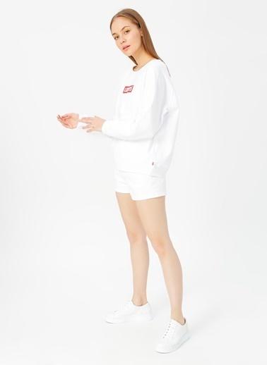 Levi's® 297170092 Relaxed Ic Crew Crew Box Rahat Pamuklu Kadın Sweatshirt Beyaz